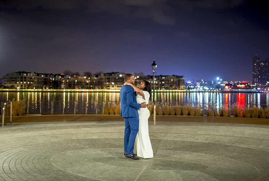 Top 10 locations for Engagement Photos around Washington DC. Engagement Photo shoot in Downtown Baltimore by Snowdrop Photography.